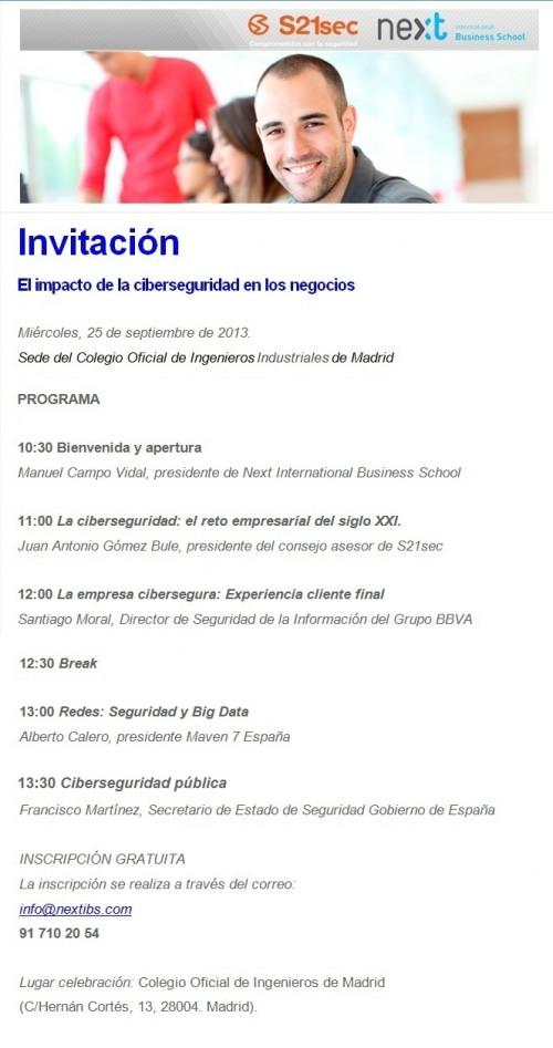 Next IBS y S21sec organizan el plenario El impacto de la ciberseguridad en los negocios