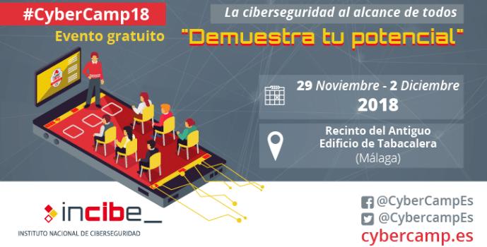 El CyberCamp 2018 se celebrará en Málaga entre el 29 de noviembre y el 2 de diciembre.