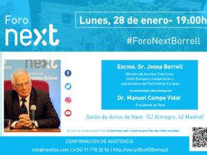 El ministro Josep Borrell, protagonista de la próxima sesión del Foro Next