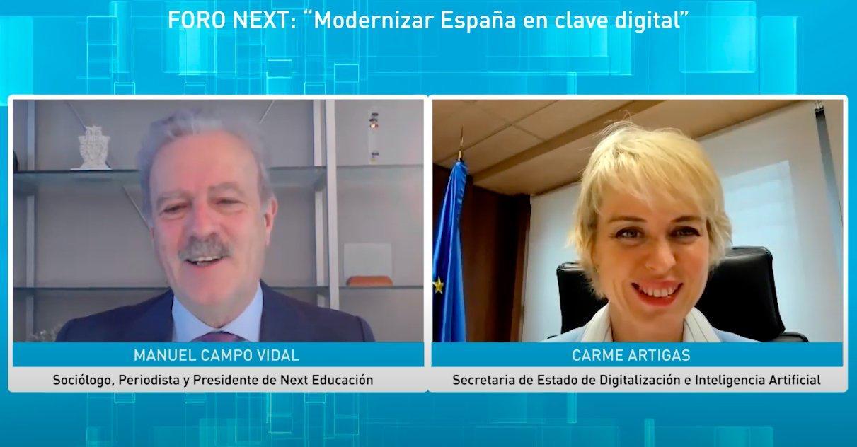 Foro Next con Carme Artigas, Secretaria de Estado de Digitalización e Inteligencia Artificial